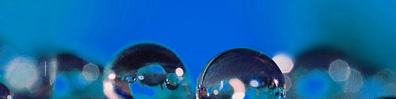 Wassertropfen vor blauem Hintergrund