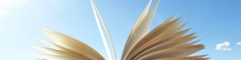 Seiten eines aufgeklappten Buches vor blauem Himmel